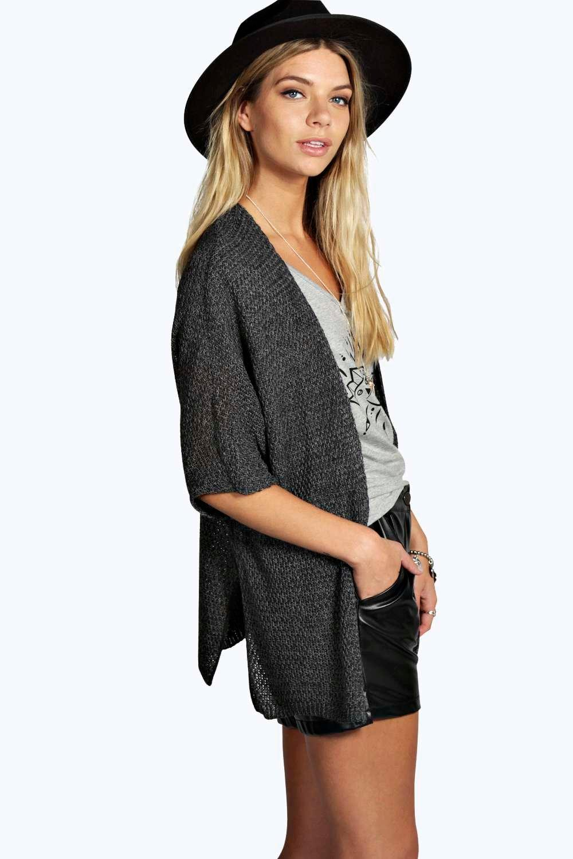 Side Split Loose Knit Batwing Cardigan  charcoal