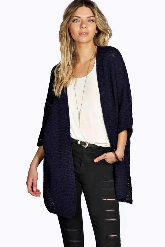 Ruby Side Split Loose Knit Batwing Cardigan