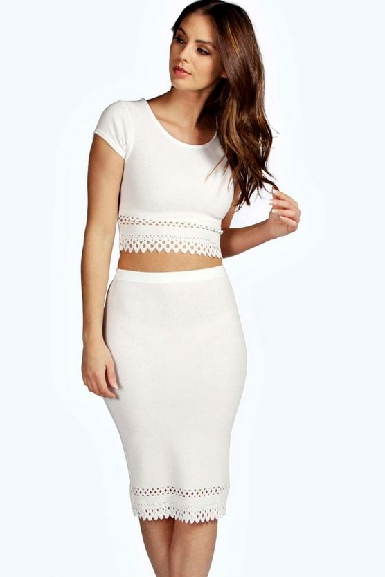 Beatrix Cap Sleeved Cut Work Midi Co-Ord Set