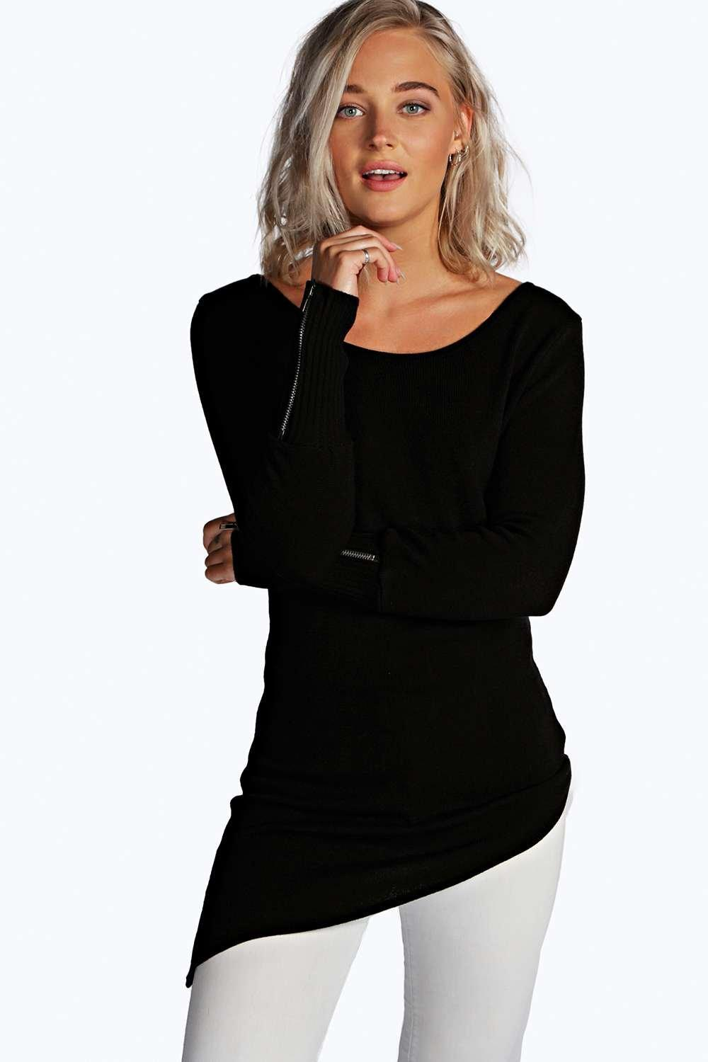Mia Asymmetric Hem Zip Sleeve Jumper