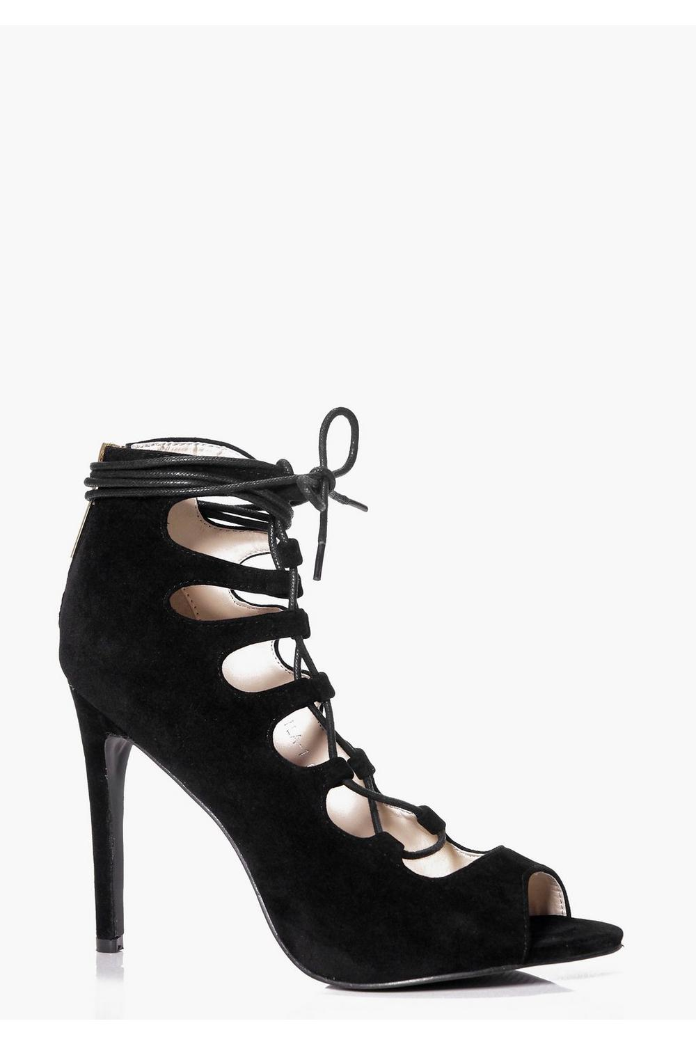 Kaya Lace Up Peep Toe Gladiator Heels