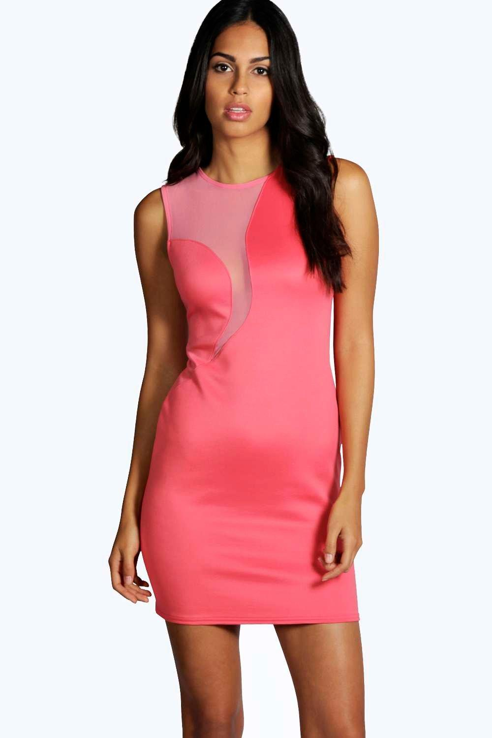 Cornelia Mesh Insert Bodycon Dress