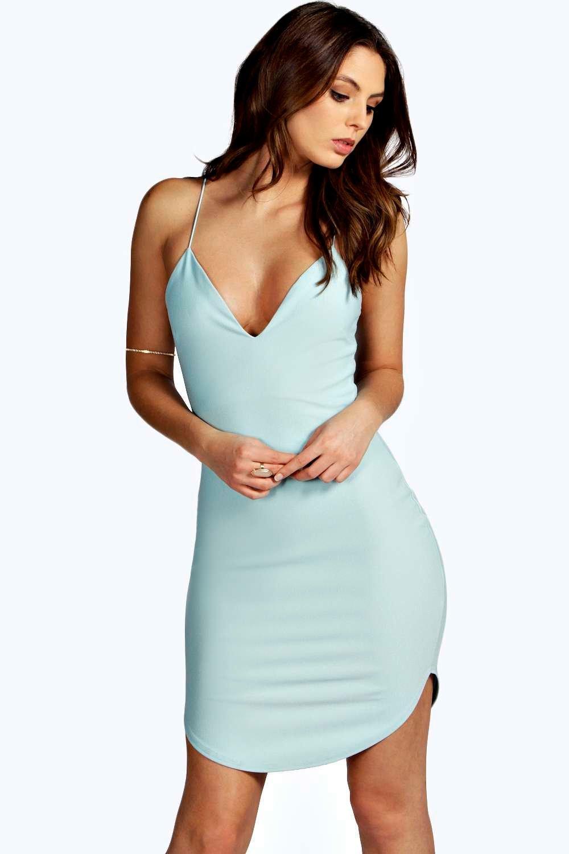 Christel Curved Hem Strappy Bodycon Dress | Boohoo