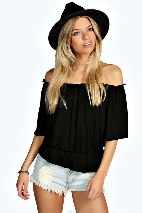 Keira Shirred Off The Shoulder 1/2 Sleeve Top