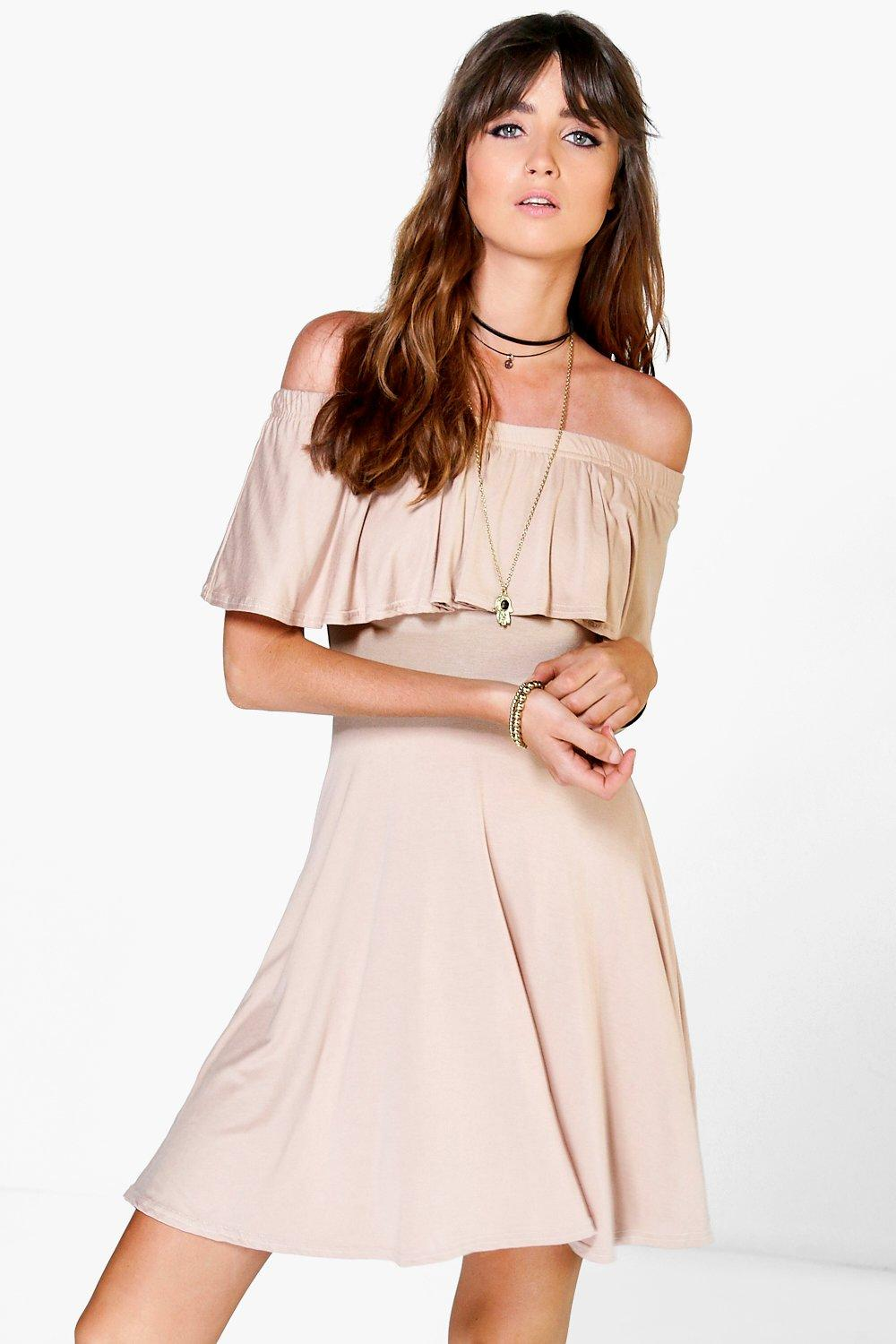 Freya Frill Off Shoulder Skater Dress