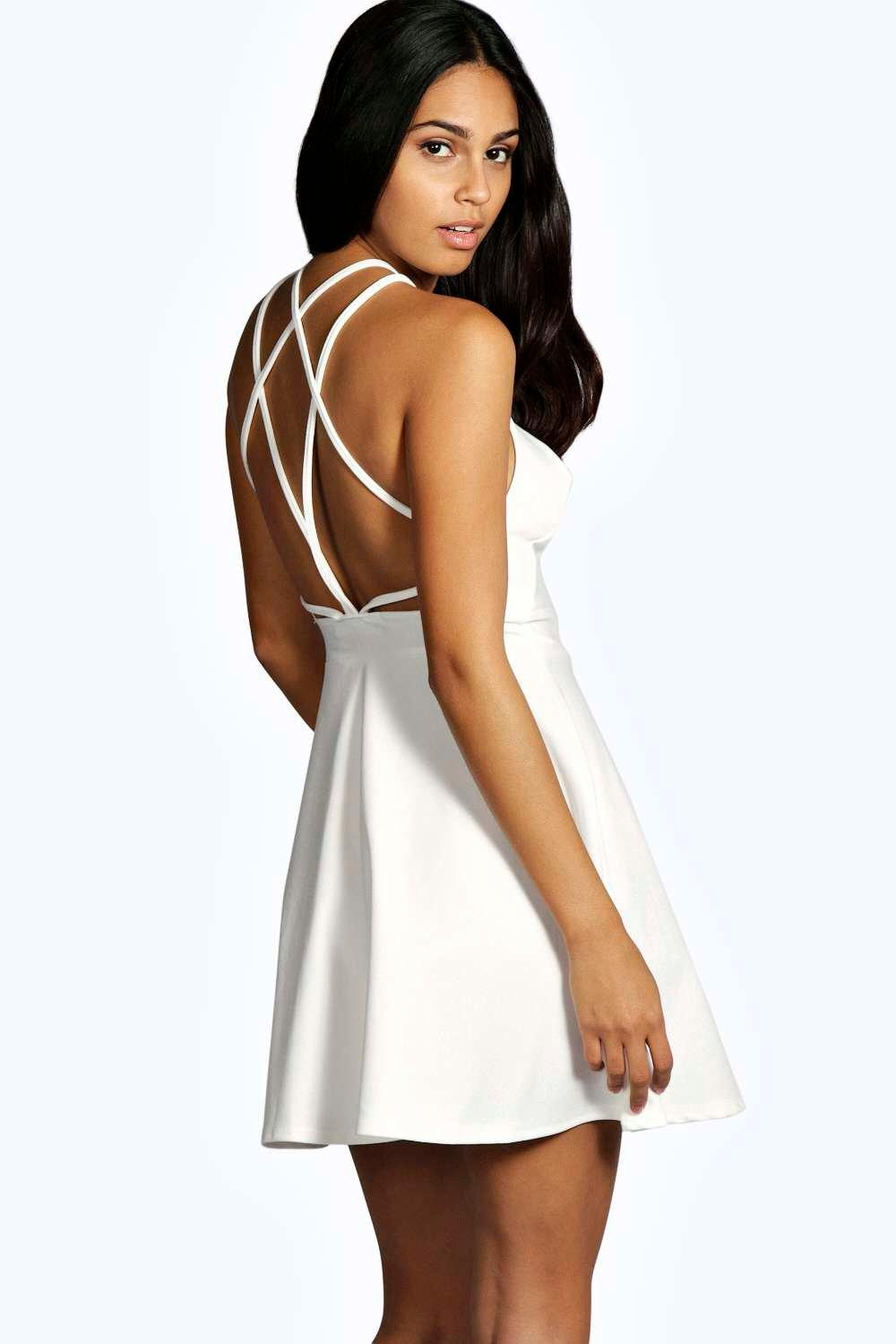 Brienne Crepe Strappy Back Skater Dress