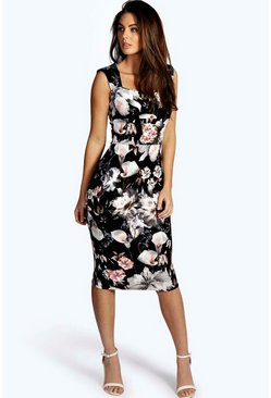Ivy Floral Print Sweetheart Midi Bodycon Dress