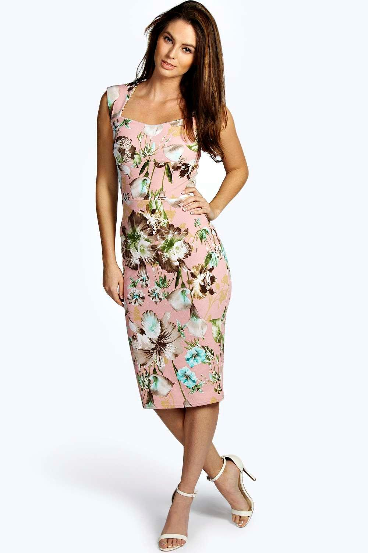 boohoo womens ivy floral print sweetheart midi bodycon