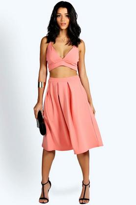 Adira Bralet Box Pleat Midi Co Ord Set