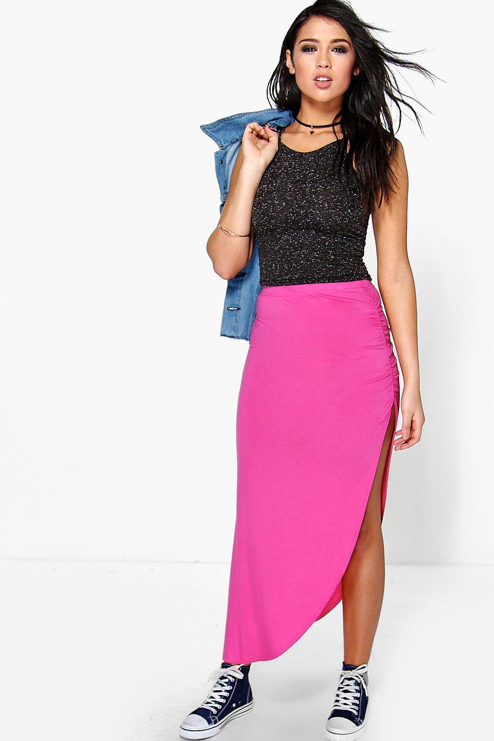 Micha Ruched Side Jersey Maxi Skirt