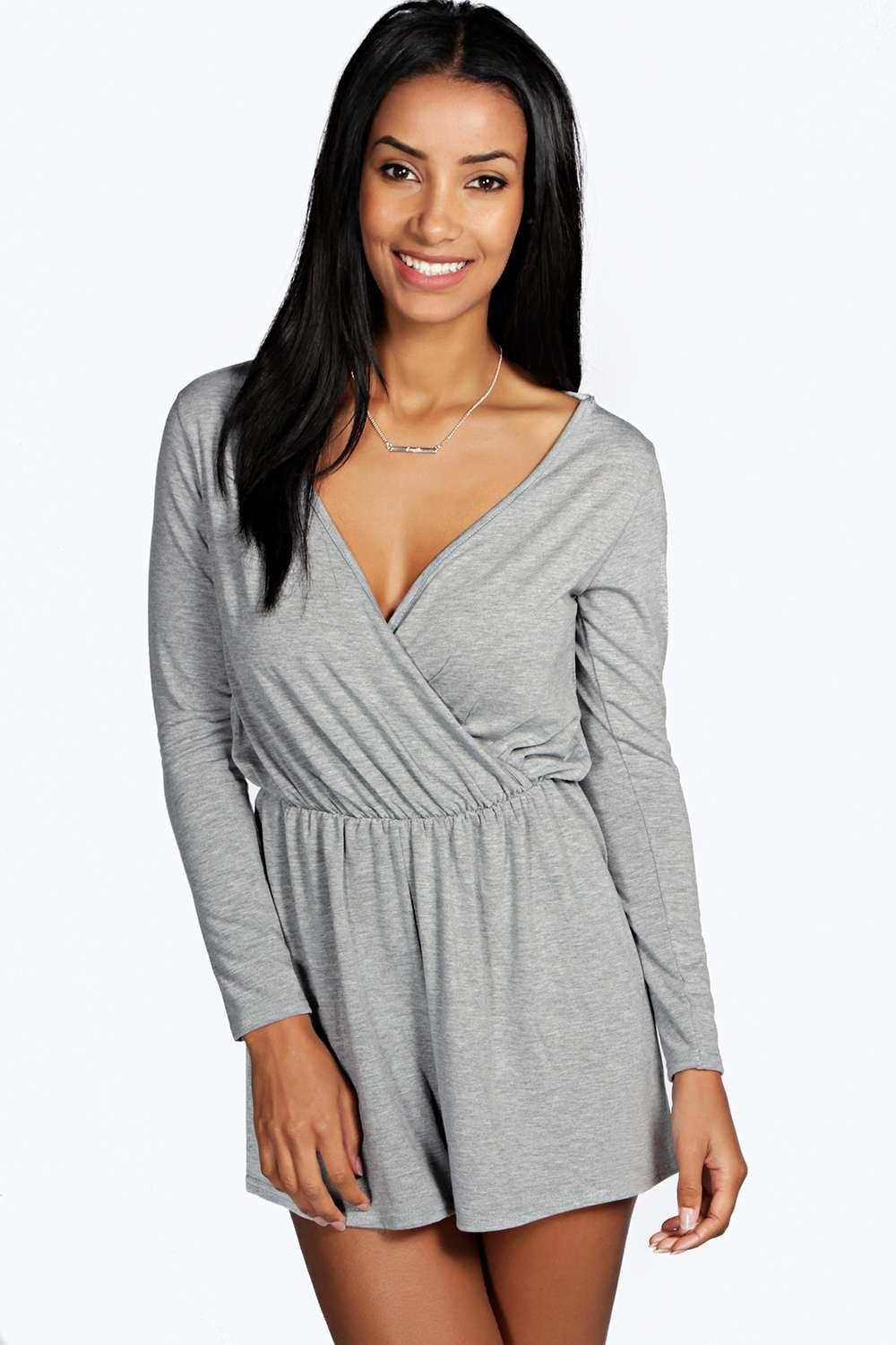 Aveline Wrap Front Jersey Playsuit