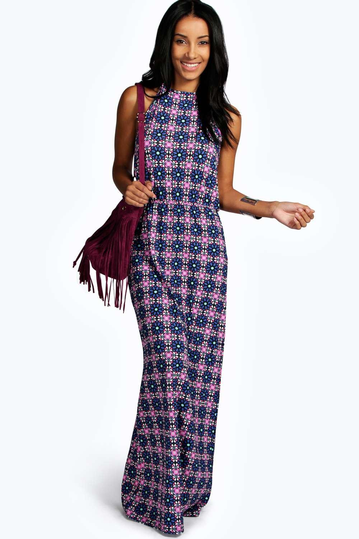 boohoo Lorna Bagged Over Maxi Dress - multi
