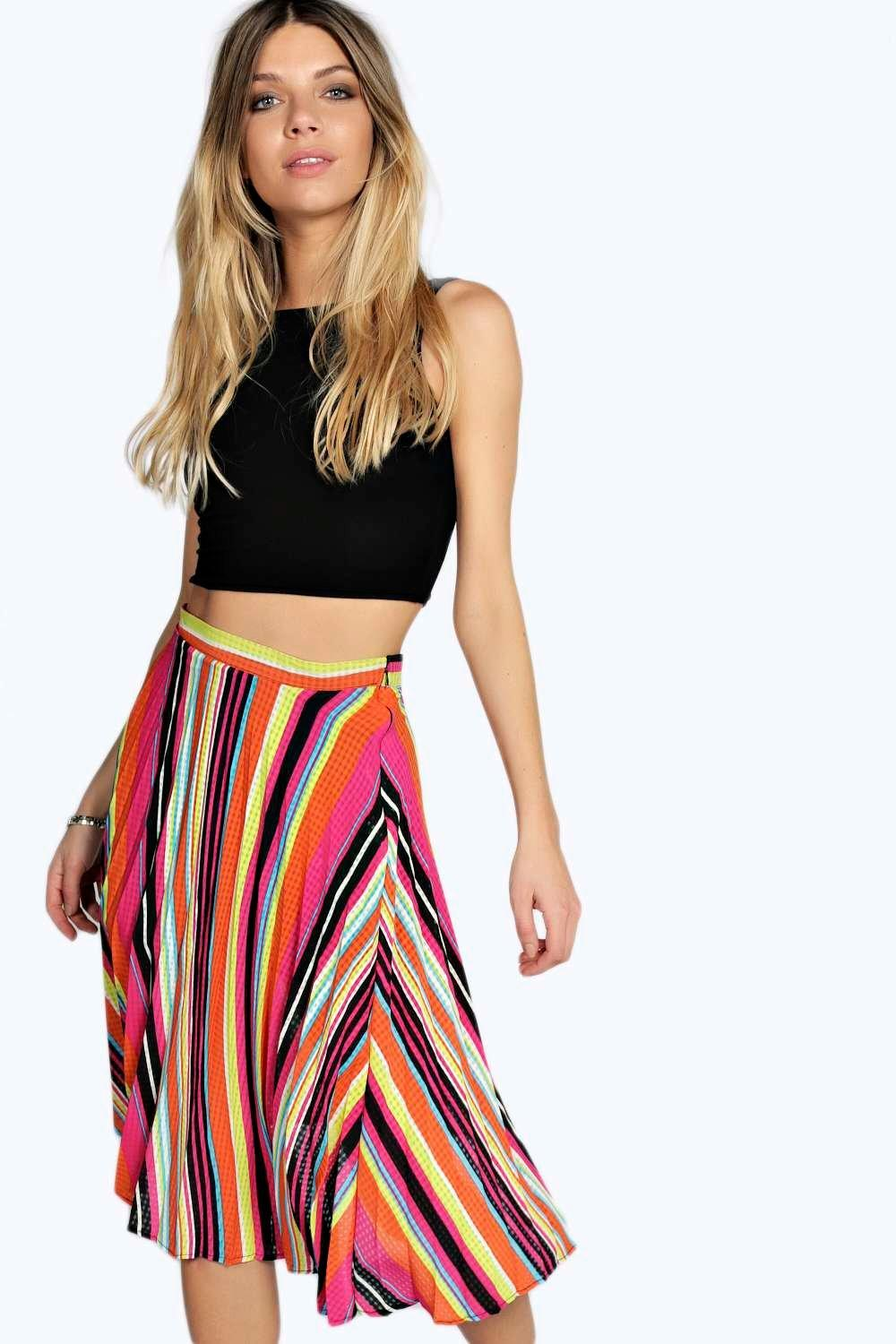 Mary Multi Colour Stripe Pleated Midi Skirt