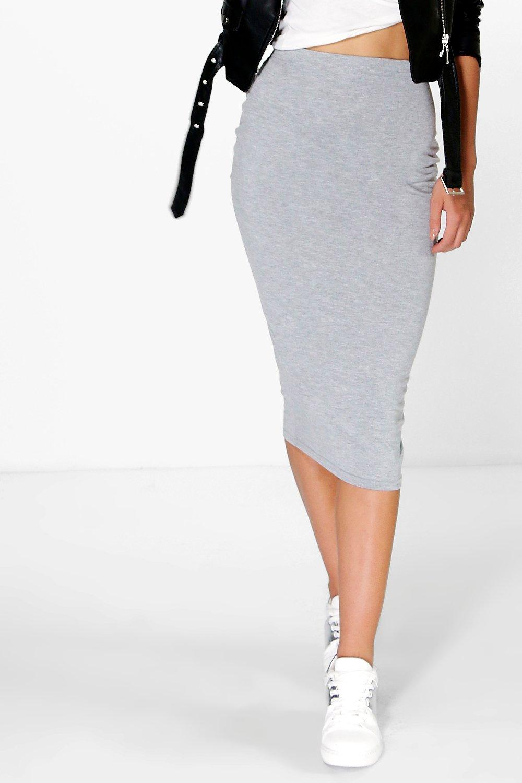 Boohoo Womens Brea Basic Jersey Midi Skirt | eBay