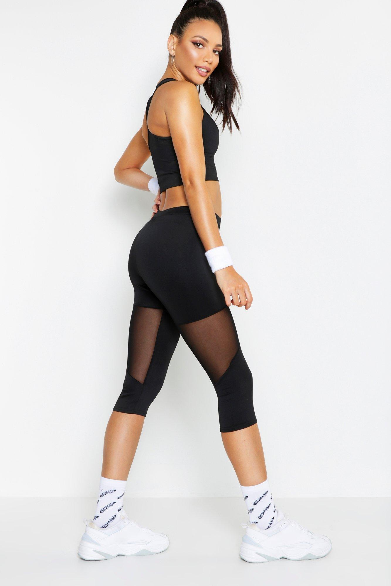 Emily Mesh Panel Capri Running Legging black