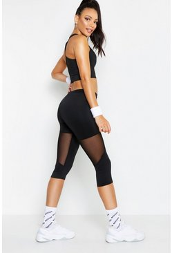 Emily Mesh Panel Capri Running Legging