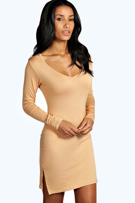 Plunge Split Side Mini Dress camel