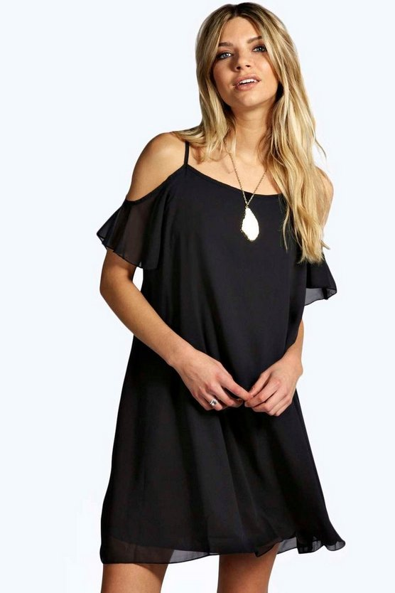 Arrabella Open Shoulder Woven Swing Dress