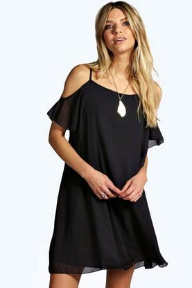 Arrabella Open Soulder Woven Swing Dress