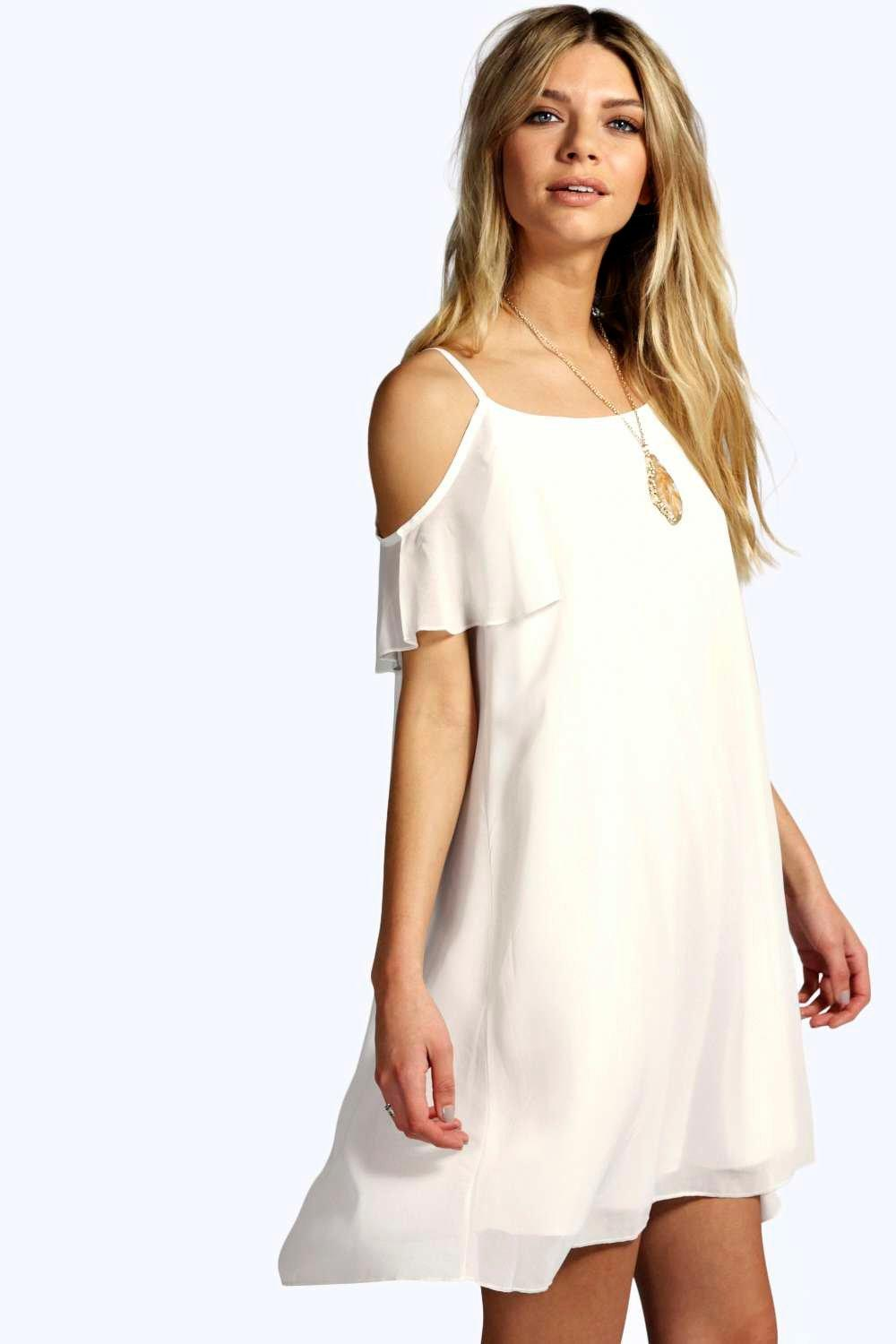 Open Soulder Woven Swing Dress ivory