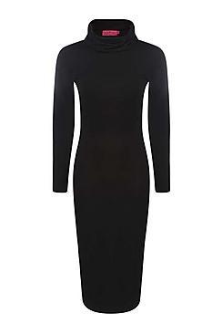 Katie Roll Neck Long Sleeve Midi Dress