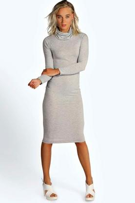 Katie Roll Neck Long Sleeve Midi Dress
