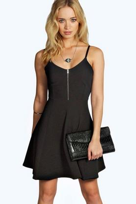 Lisa Zip Detail Skater Dress