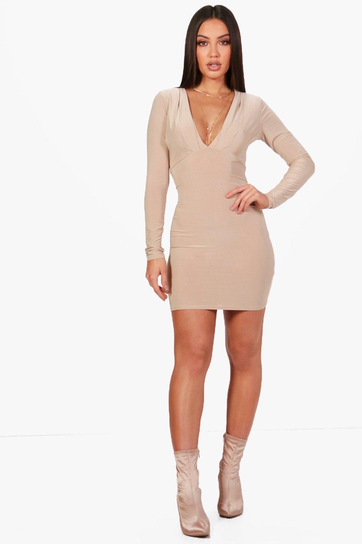 Silvia Plunge Neck Bodycon Dress | Boohoo