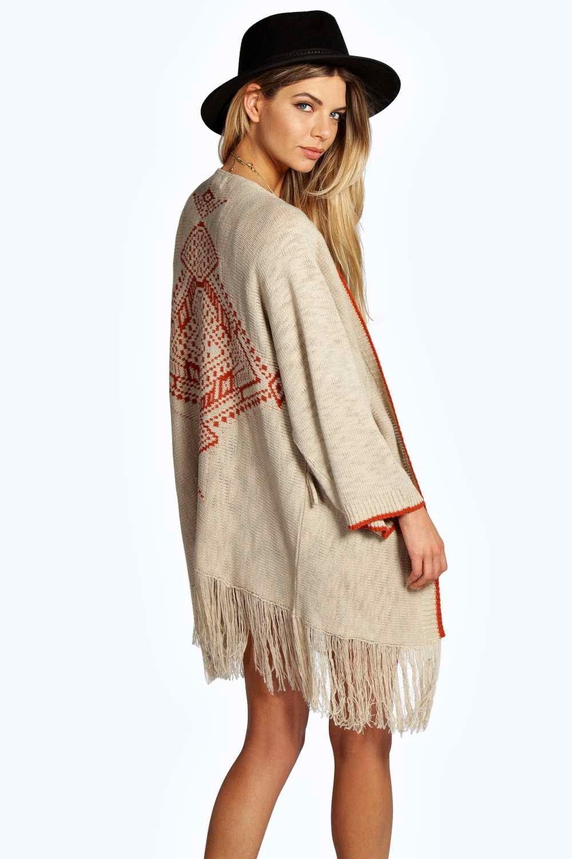 Boutique Knit Tassle Cardigan stone