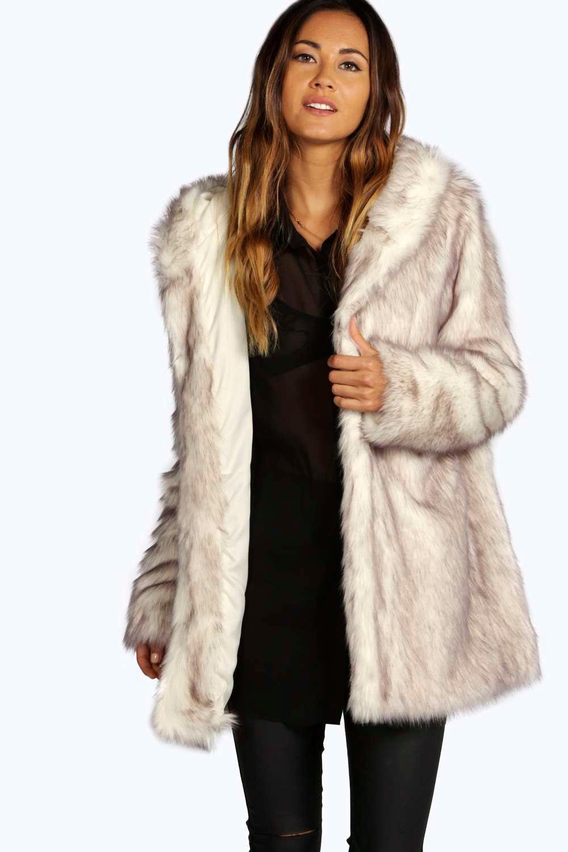 Lois Hooded Faux Fur Coat - cream