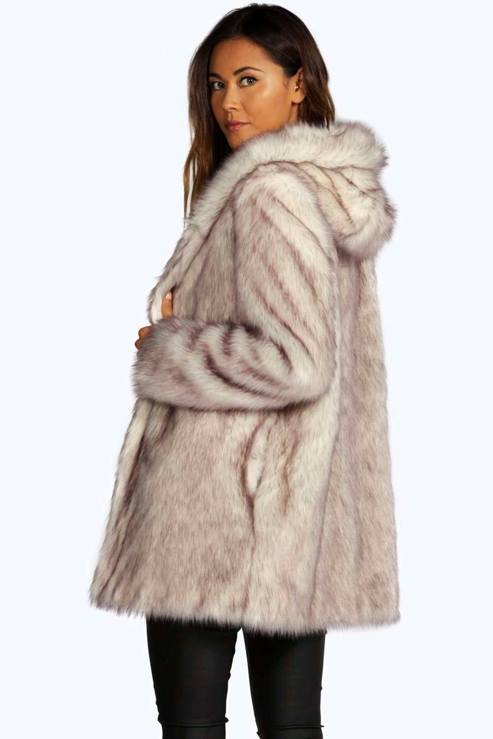 Faux Fur Coat Hood
