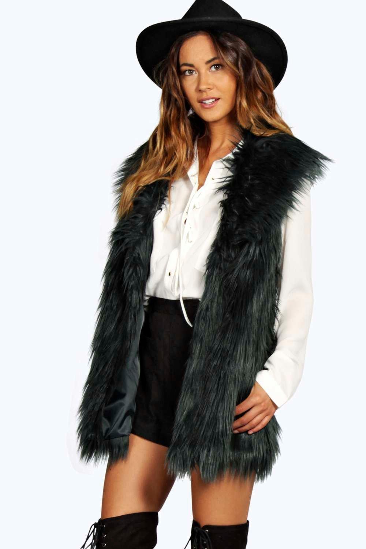 Shawl Collar Longline Faux Fur Gilet bottle