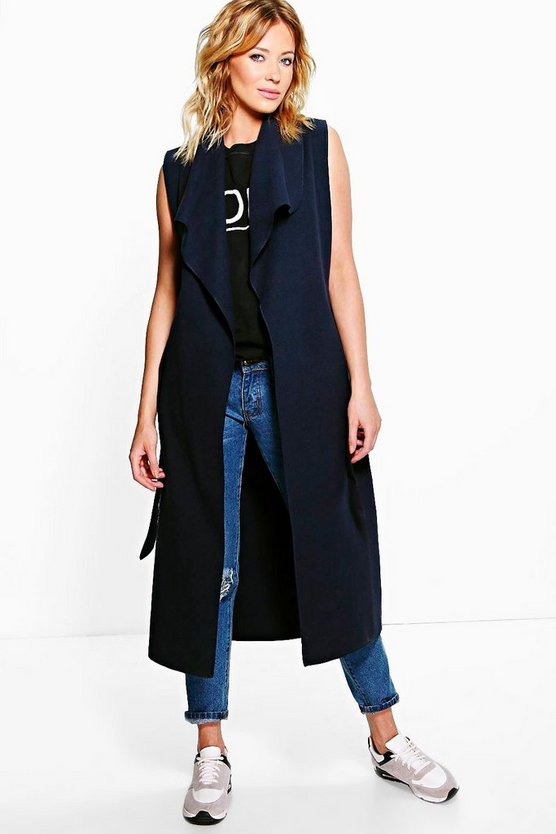 Waterfall Belted Sleeveless Coat