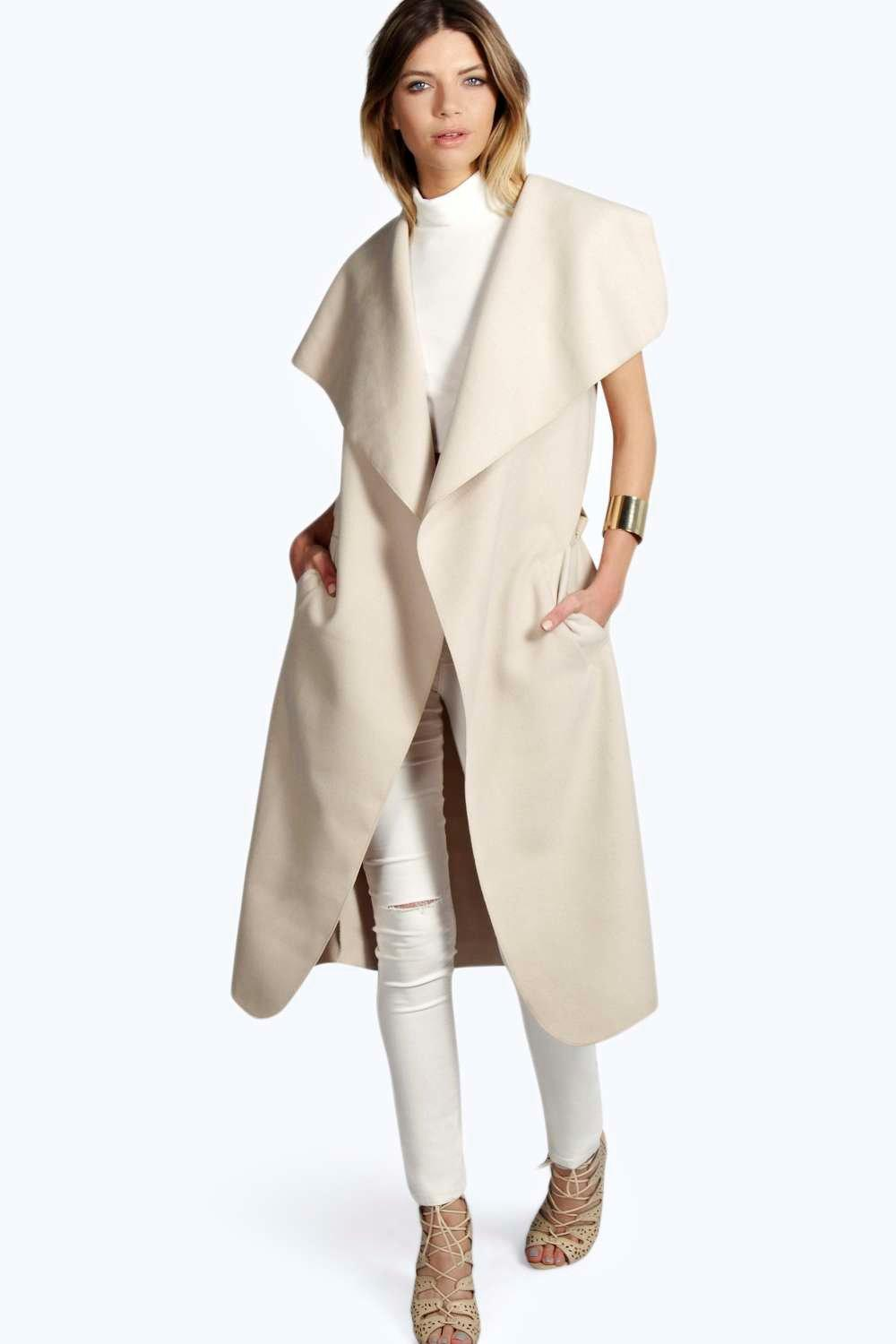 Olivia Waterfall Belted Sleeveless Coat