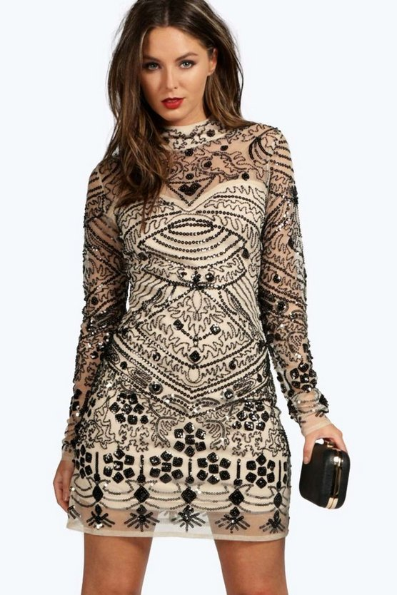 Boutique Embellished High Neck Bodycon Dress