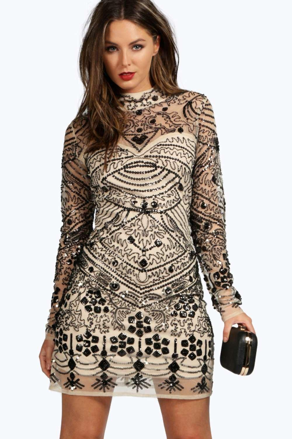 Boutique Kira Embellished High Neck Bodycon Dress