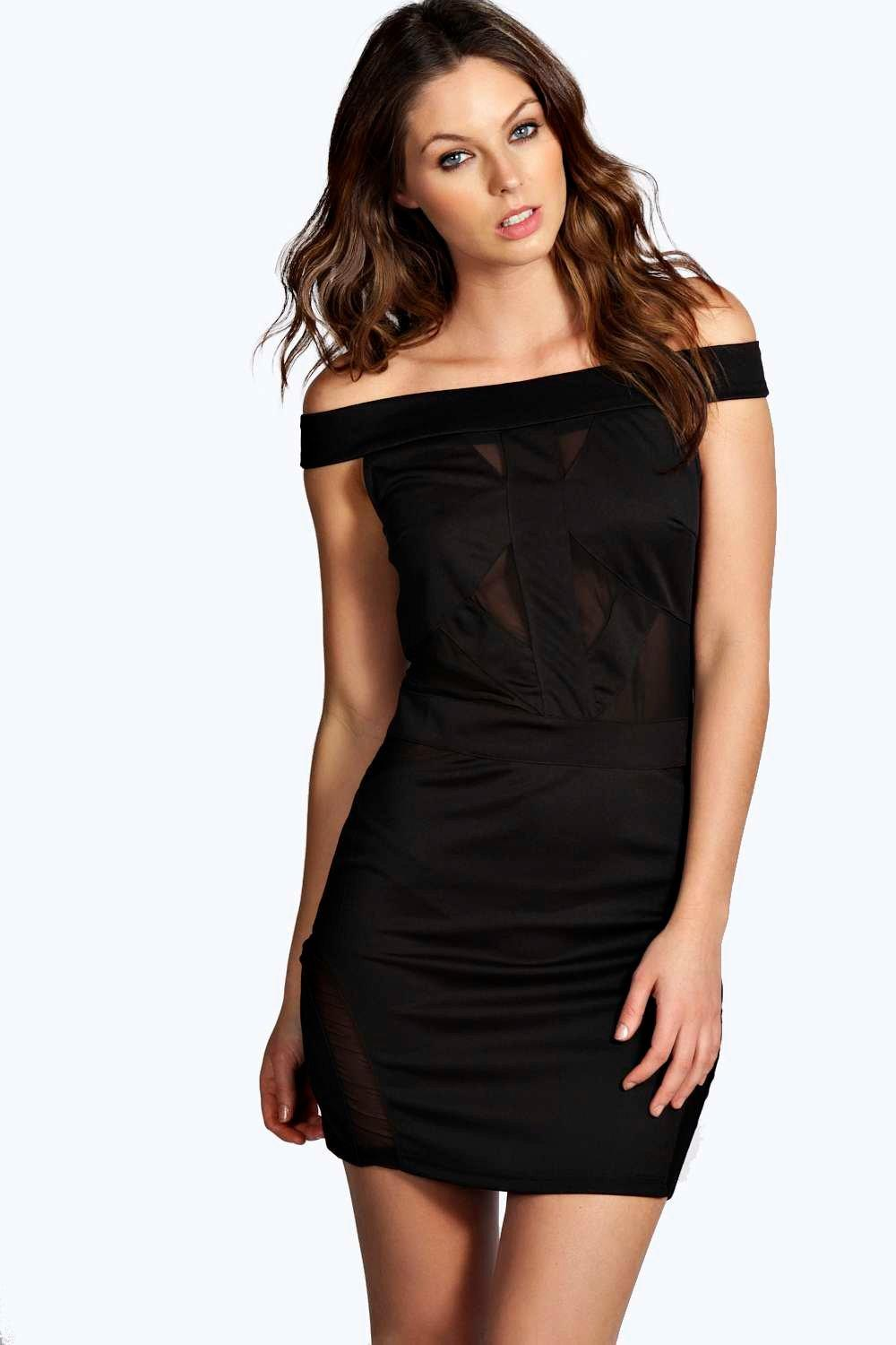 Celia Mesh Insert Off Shoulder Bodycon Dress