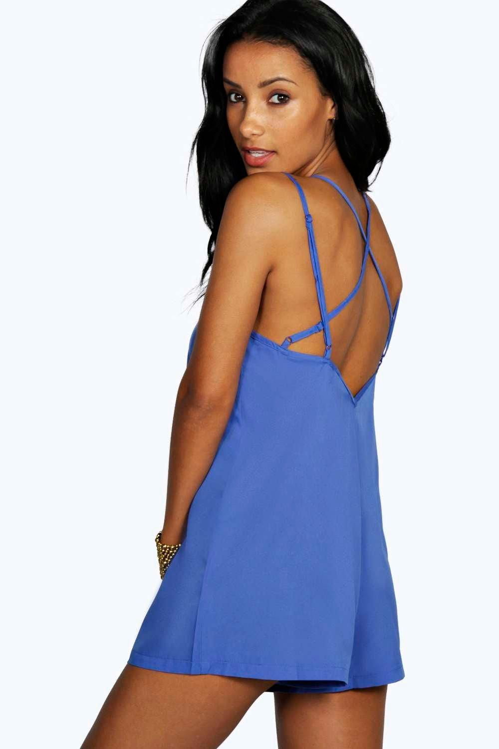 Jessica Strappy Solid Colour Woven Playsuit