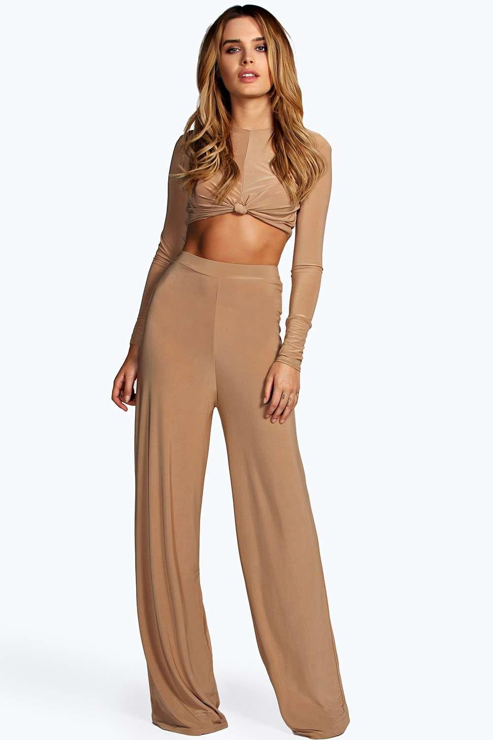 boohoo shannon pantalon palazzo camel pr s du corps taille. Black Bedroom Furniture Sets. Home Design Ideas
