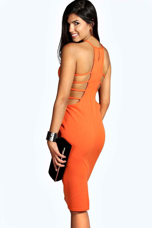 Strappy Cutout Detail Midi Bodycon Dress orange