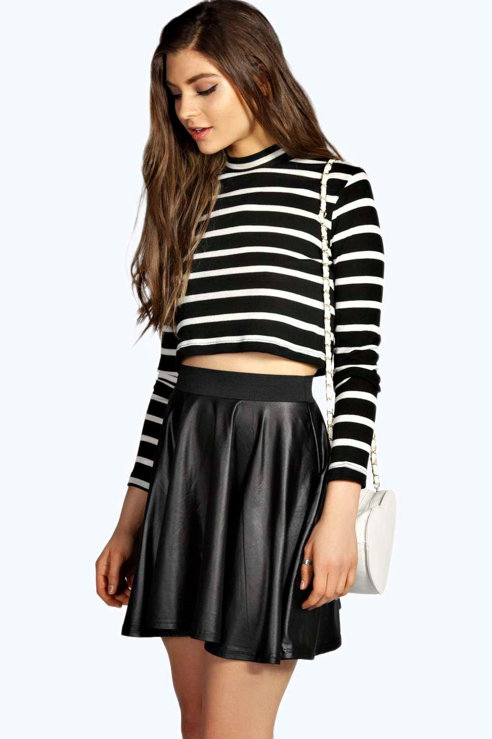 Adele Leather Look Coated Skater Skirt | Boohoo