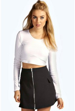 Kayla Ribbed Long Sleeve Crop Top