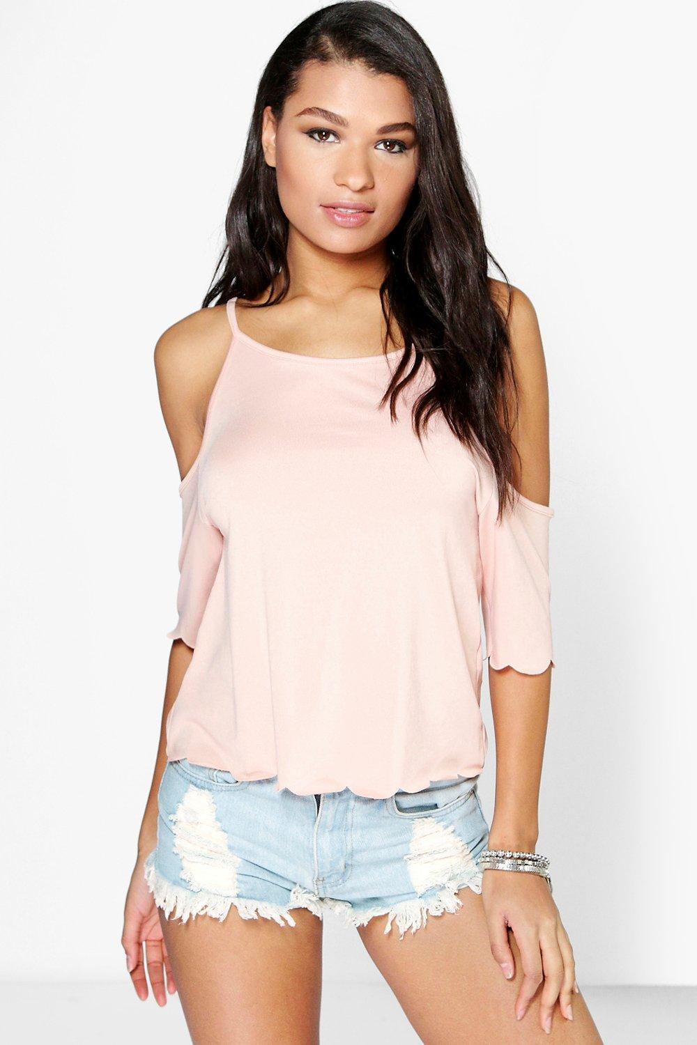 Kate Open Shoulder Scallop Edge Top