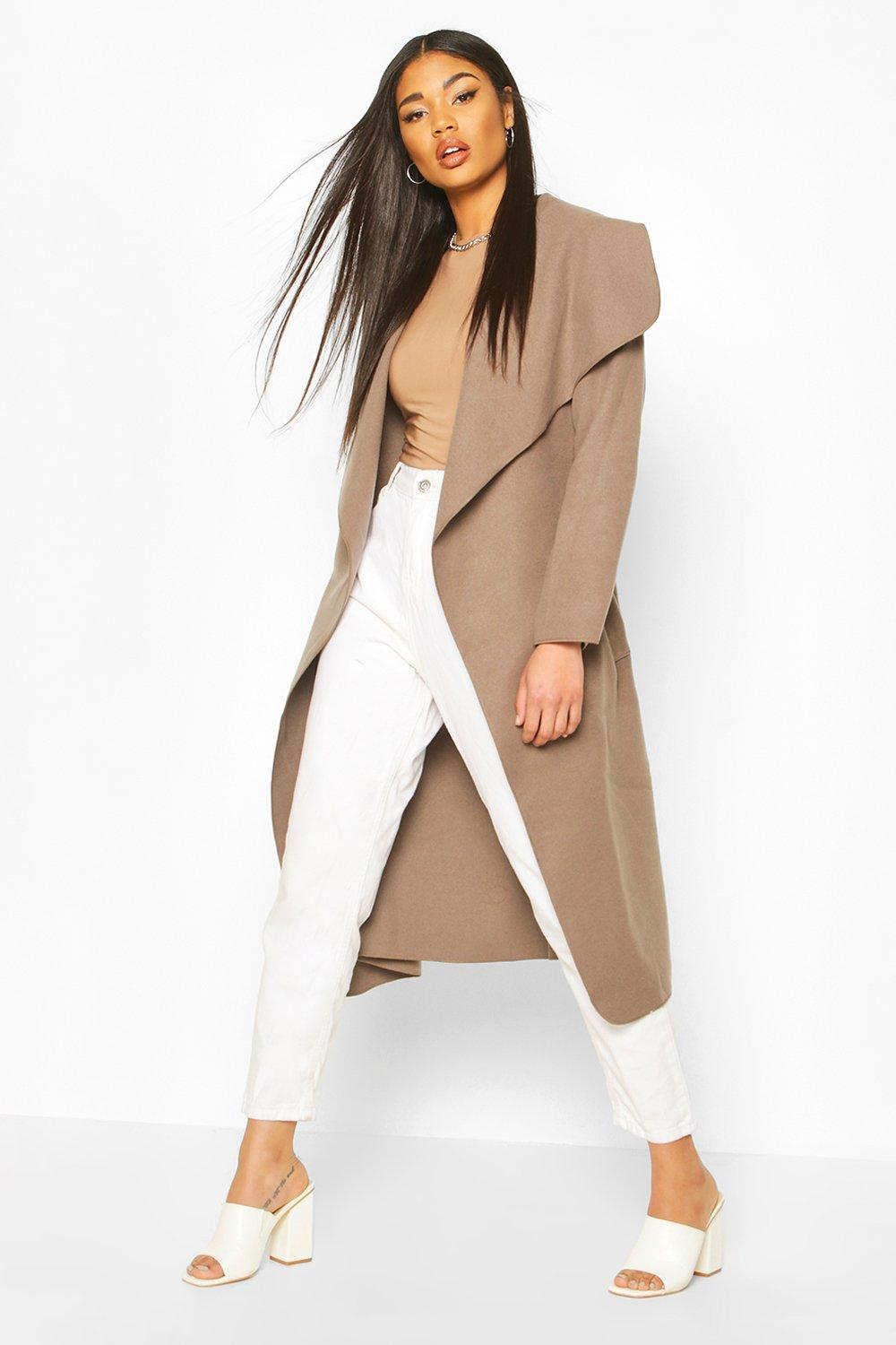 SALE Belted Shawl Collar Coat