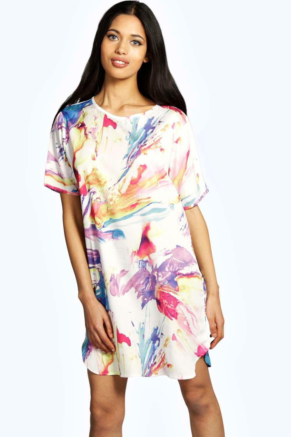 Scarlett Bright Paint Print Woven Shift Dress