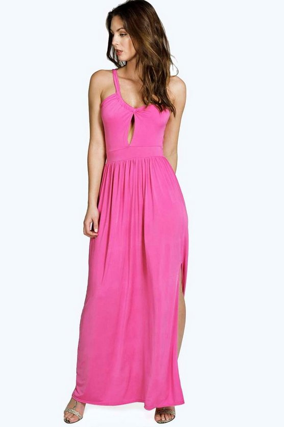 Olivia Slinky Cutout Shoulder Detail Maxi Dress