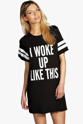 Tia I woke Up Like This Oversized Tee Night Dress