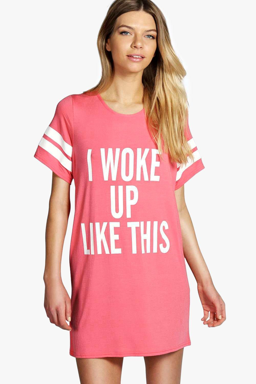 tia chemise de nuit t shirt i woke up like this. Black Bedroom Furniture Sets. Home Design Ideas