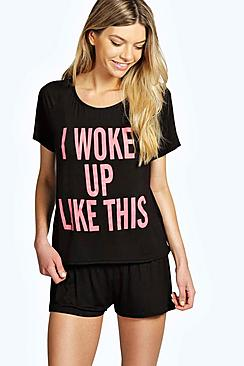 Rae I Woke Up Like This Crop Tee & Short Set