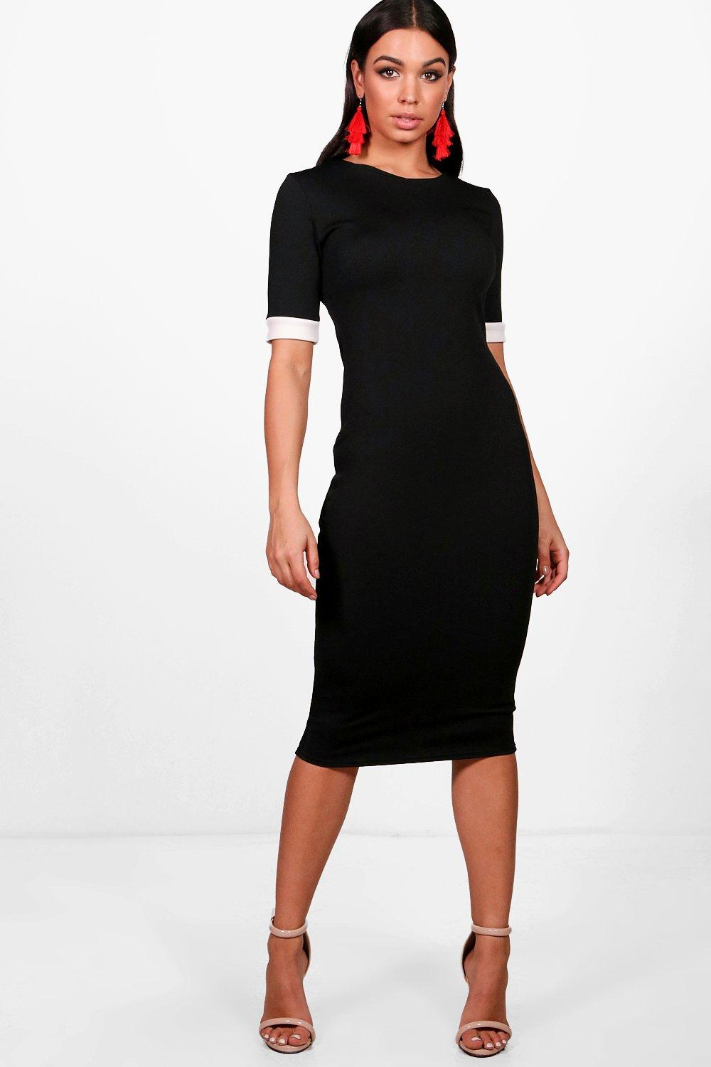 Mila Contrast Cuff Bodycon Midi Dress